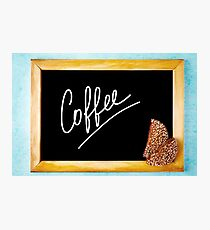 Chalk Board with White Text Coffee in Wooden Frame Photographic Print