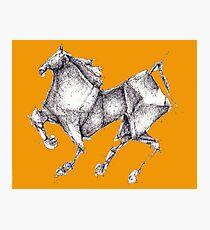 Orange Origami Horse Photographic Print