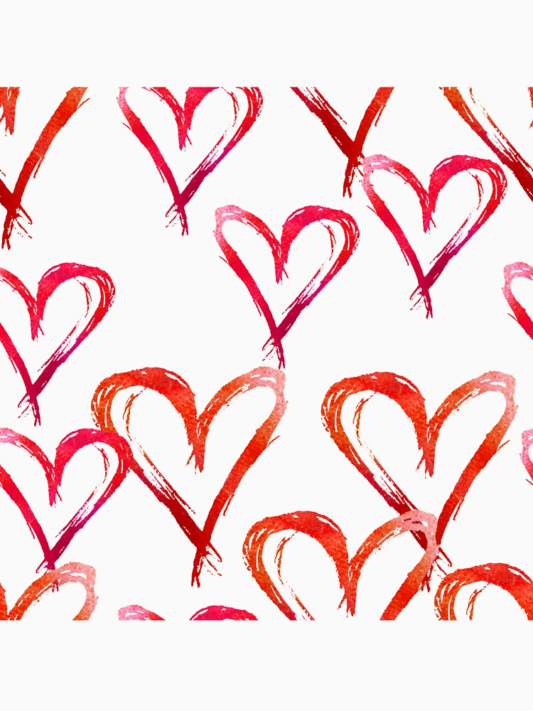 Hand drawn watercolor seamless pattern. Red hearts. by TrishaMcmillan