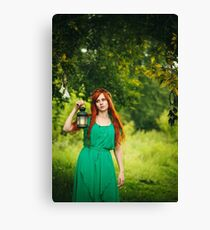 Beautiful red hair girl with deep green eyes Canvas Print