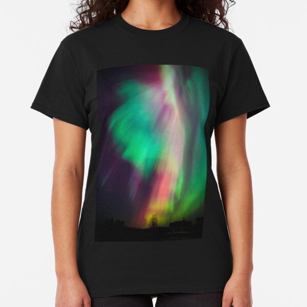 Beautiful multicolored northern lights in Finland Classic T-Shirt