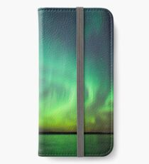 Northern lights over lake in Finland iPhone Wallet/Case/Skin