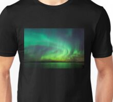 Northern lights over lake in Finland Unisex T-Shirt