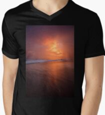 Sunset clouds and long wave Mens V-Neck T-Shirt