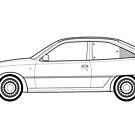 Vauxhall / Opel Astra GTE Line drawing artwork by RJWautographics
