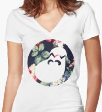 Floral Ice Climbers Women's Fitted V-Neck T-Shirt