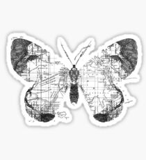 Butterfly Wanderlust Black and White Sticker