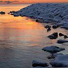 Cold and Hot - Colorful Sunrise on the Lake by Georgia Mizuleva