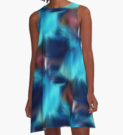 Blue Abstract Brush Strokes A-Line Dress