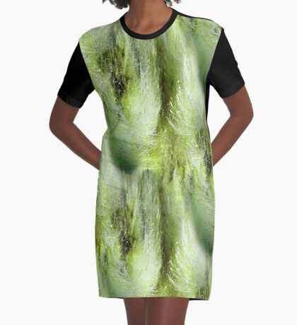 Cattail Fluff Abstract Pattern Graphic T-Shirt Dress