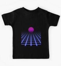 80s Digital Horizon - Sunset Aesthetic Kids Tee