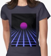 80s Digital Horizon - Sunset Aesthetic Womens Fitted T-Shirt