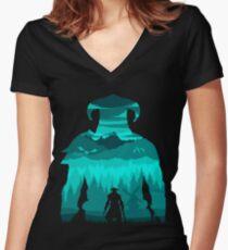 Dragonborn Silhouette Women's Fitted V-Neck T-Shirt