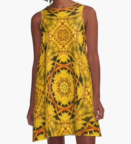 Yellow Flower Petals Abstract Pattern A-Line Dress
