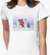 Elephant in a Red Hand-Knitted Sweater Women's Fitted T-Shirt
