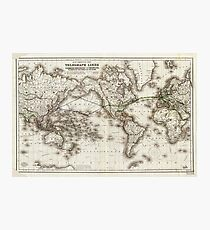 Vintage World Map Showing Telegraph Lines (1871) Photographic Print