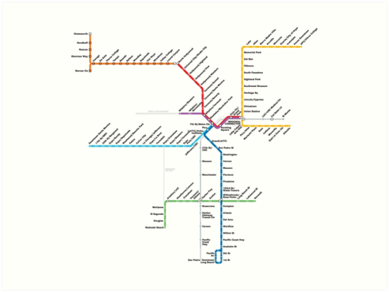 Los Angeles Metro Rail Map Art Prints By Rich Anderson Redbubble
