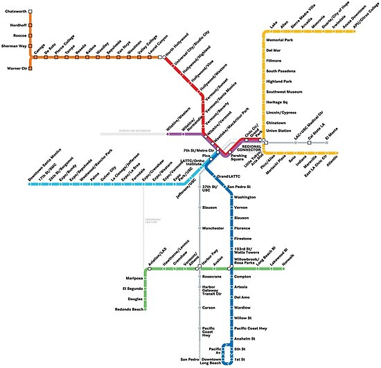 Los Angeles Metro Rail Map Posters By Rich Anderson Redbubble