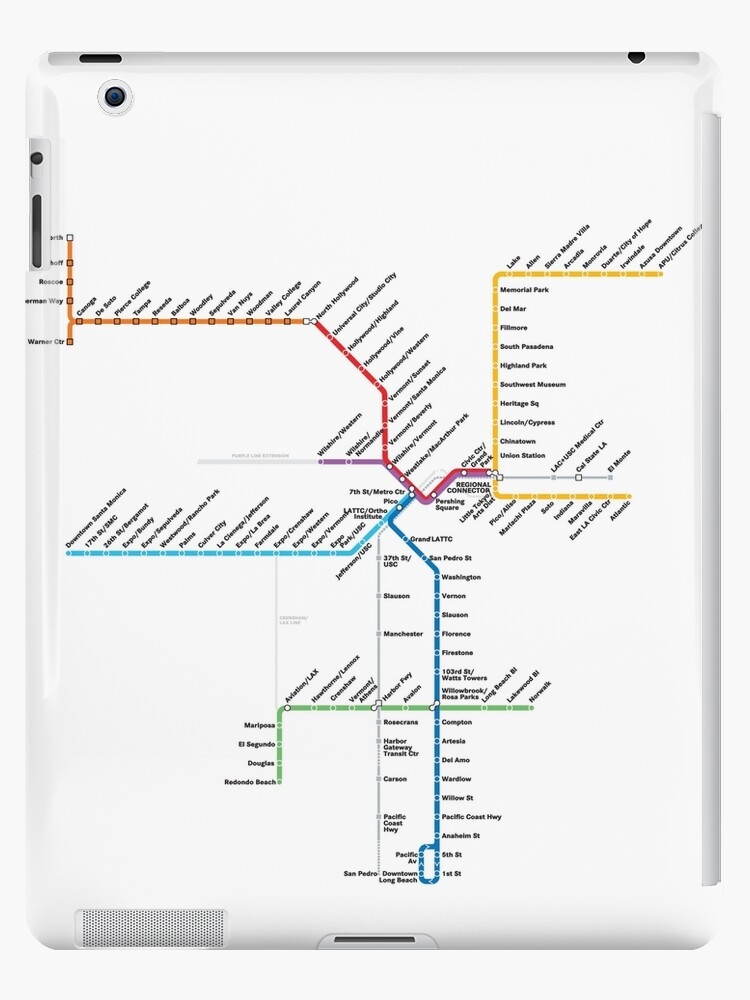 Red Line Los Angeles Subway Map.Los Angeles Metro Rail Map Ipad Case Skin By Rich Anderson
