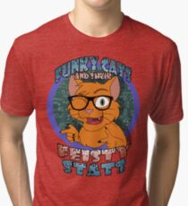 Funky Cats and their Feisty Stats Tri-blend T-Shirt