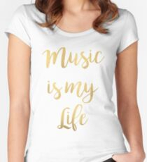 Music is my life | Golden Women's Fitted Scoop T-Shirt