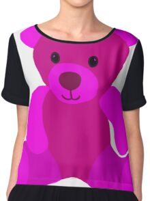 Bright Pink Teddy Bear Chiffon Top