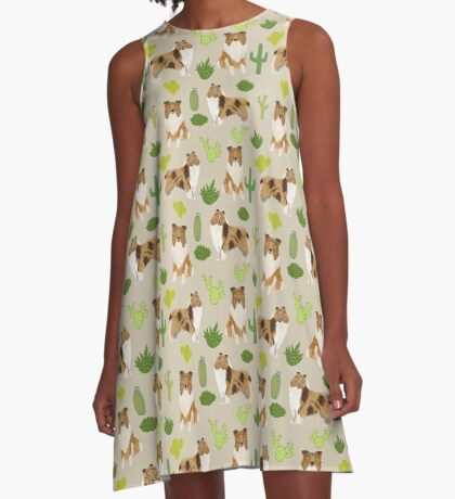 rough collie cactus design A-Line Dress