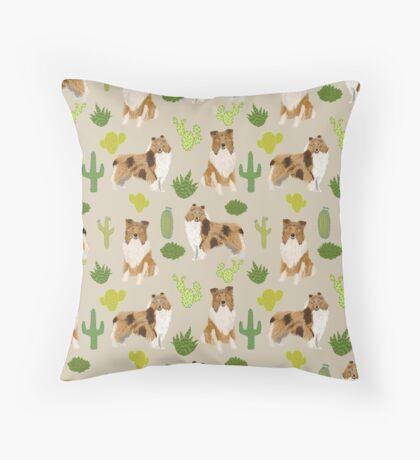 rough collie cactus design Throw Pillow