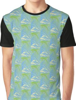 Blue and Green Waves Graphic T-Shirt