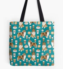 rough collie coffee fabric coffee patern dog gift rough collie dogs Tote Bag