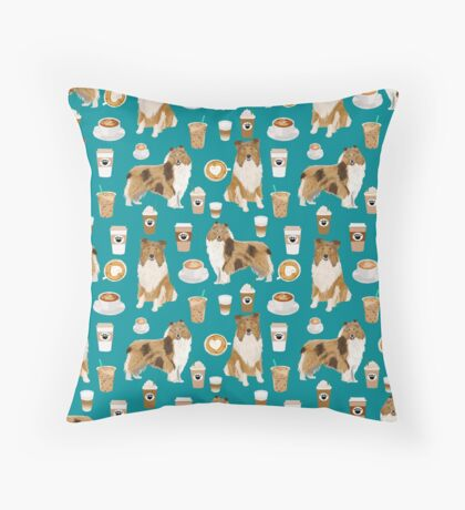 rough collie coffee fabric coffee patern dog gift rough collie dogs Throw Pillow