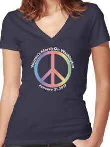 Women's March On Washington Peace Sign Women's Fitted V-Neck T-Shirt