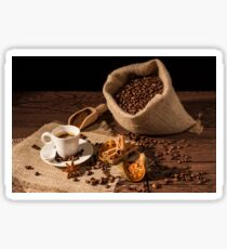 Coffee cup with cinnamon, star anise and dried orange fruit Sticker