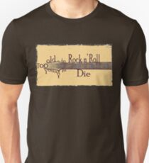 Too Old to Rock n' Roll, Too Young to Die - Grungy Guitar Design Unisex T-Shirt