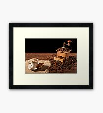 Coffee cup with whipped cream and coffee grinder Framed Print