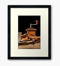 Close-up on dried orange fruit and cinnamon and coffee beans Framed Print