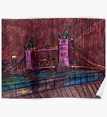 London Bridge at Night Poster