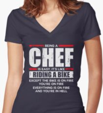 Being a Chef is Easy its Like Riding a Bike Women's Fitted V-Neck T-Shirt