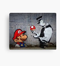 Banksy - Policeman and Mario's mushroom Canvas Print