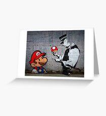 Banksy - Policeman and Mario's mushroom Greeting Card
