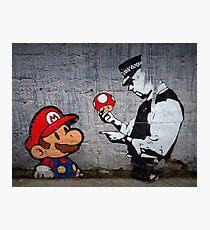 Banksy - Policeman and Mario's mushroom Photographic Print