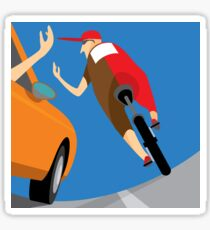 Car driver and cyclist Sticker