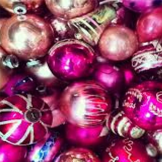 pink purple and gold christmas ornaments by cecstore