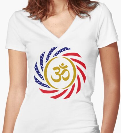 Hindu American Multinational Patriot Flag Series 1.0 Fitted V-Neck T-Shirt