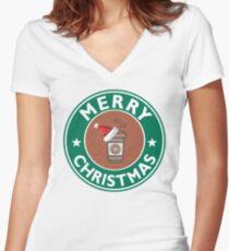 Festive Coffee Logo Women's Fitted V-Neck T-Shirt