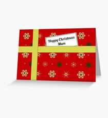 Mum red Christmas parcel card Greeting Card
