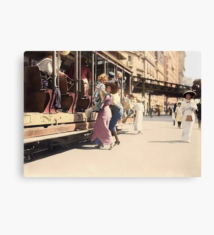 Mother helps her child off trolley in NYC — Colorized Canvas Print