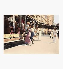 Mother helps her child off trolley in NYC — Colorized Photographic Print