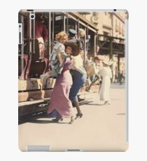 Mother helps her child off trolley in NYC — Colorized iPad Case/Skin