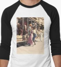 Mother helps her child off trolley in NYC — Colorized Baseball ¾ Sleeve T-Shirt